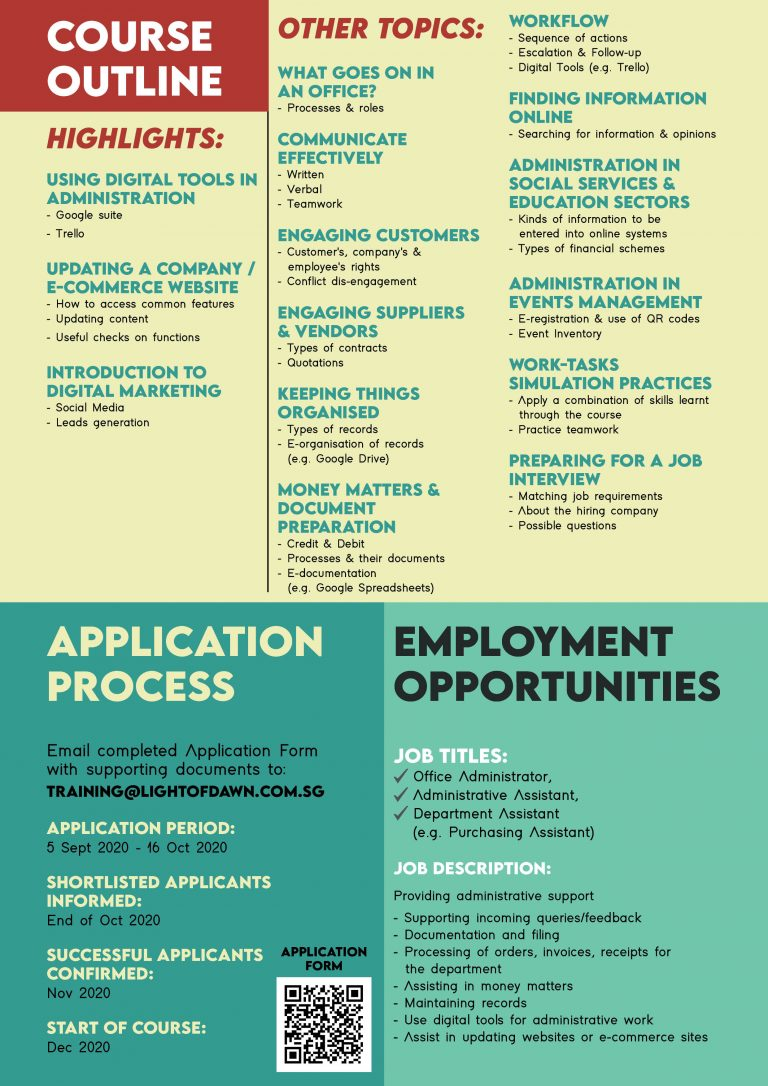 The second page of brochure indicates Course information, Application Process, and Employment Opportunities
